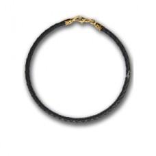 Шнурок (кожаный, плетеный, 2,5см., замок-карабин, позолота)